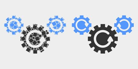 Dot and flat gear rotation icons. Vector mosaic of gear rotation organized with random square pixels and circle pixels.