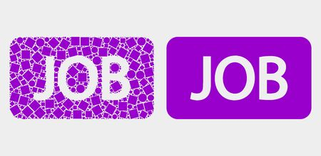 Pixel and flat job caption icons. Vector mosaic of job caption designed of random square dots and spheric dots.
