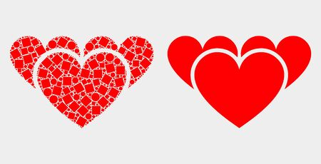 Pixel and flat love hearts icons. Vector mosaic of love hearts composed of irregular square pixels and spheric pixels. Illustration