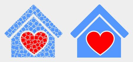 Pixel and flat love house icons. Vector mosaic of love house organized of irregular square pixels and round pixels.