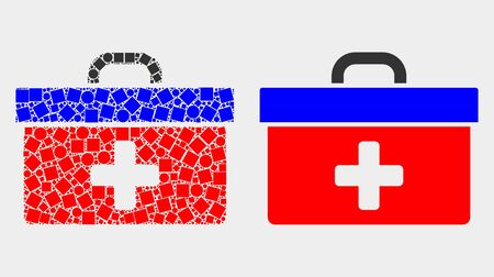 Dotted and flat medical case icons. Vector mosaic of medical case formed of scattered rectangle elements and circle elements.
