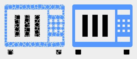 Pixel and flat microwave oven icons. Vector mosaic of microwave oven combined of scattered rectangle elements and circle points.