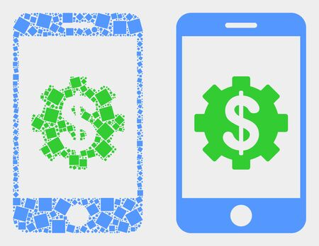 Pixel and flat mobile banking service icons. Vector mosaic of mobile banking service designed with irregular square pixels and circle pixels.