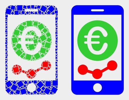 Dot and flat mobile euro chart icons. Vector mosaic of mobile euro chart composed of irregular square pixels and round pixels.