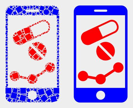 Dotted and flat mobile pharmacy chart icons. Vector mosaic of mobile pharmacy chart designed of random square dots and circle dots.