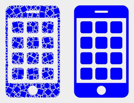Dotted and flat mobile phone icons. Vector mosaic of mobile phone designed with scattered square dots and spheric dots.