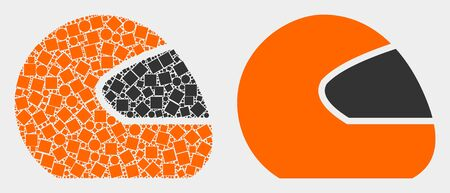 Dot and flat motorcycle helmet icons. Vector mosaic of motorcycle helmet constructed of randomized square dots and circle dots.