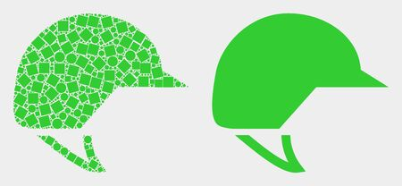 Dot and flat motorcycle helmet icons. Vector mosaic of motorcycle helmet combined of randomized square elements and spheric elements.