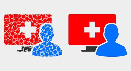Dot and flat online medical patient icons. Vector mosaic of online medical patient designed of scattered small squares and spheric points.