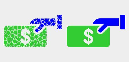 Dot and flat pay cash icons. Vector mosaic of pay cash constructed of random square dots and spheric dots.