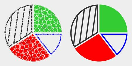 Pixel and flat pie chart icons. Vector mosaic of pie chart constructed of irregular square elements and round elements.