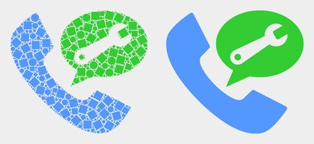 Dot and flat phone service message icons. Vector mosaic of phone service message composed of randomized small squares and spheric items. Иллюстрация