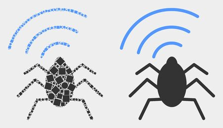 Dot and flat radio bug icons. Vector mosaic of radio bug organized of randomized rectangle elements and spheric points.