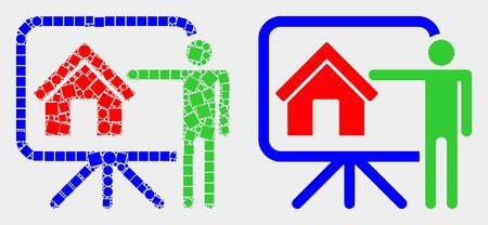 Dot and flat public report icons. Vector mosaic of realtor public report formed of random square dots and round pixels.