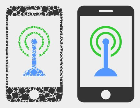 Dotted and flat smartphone wifi hotspot icons. Vector mosaic of smartphone wifi hotspot combined of scattered rectangle elements and spheric elements. Illustration