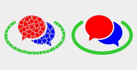 Dot and flat social network messages icons. Vector mosaic of social network messages organized of random square dots and spheric dots.