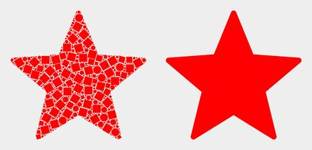 Pixel and flat star icons. Vector mosaic of star organized of randomized dots and circle points.