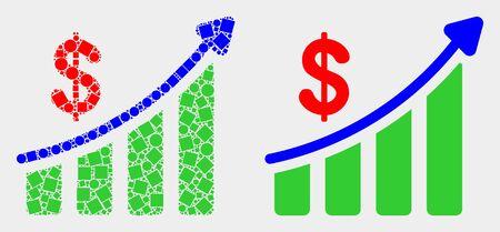 Dot and flat success financial chart icons. Vector mosaic of success financial chart designed of irregular square dots and circle dots.