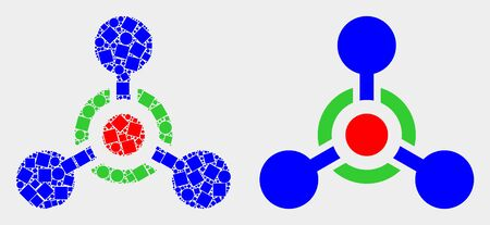 Dot and flat toxic Nerve agent icons. Vector mosaic of toxic Nerve agent organized of randomized square pixels and spheric pixels.