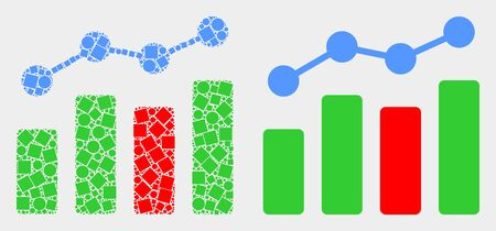 Pixel and flat trend chart icons. Vector mosaic of trend chart organized of scattered square particles and circle dots.