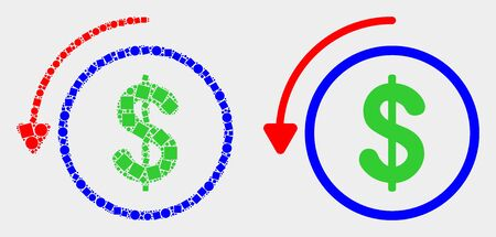 Pixel and flat undo payment icons. Vector mosaic of undo payment created of randomized square dots and circle points.