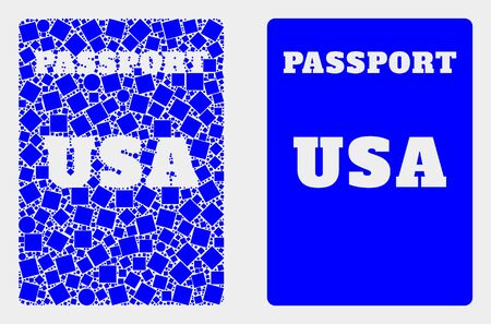 Dotted and flat USA passport icons. Vector mosaic of USA passport formed of random square dots and round dots. Ilustrace
