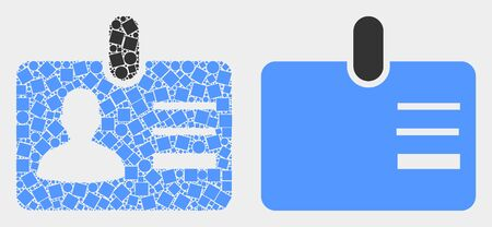 Dotted and flat user id badge icons. Vector mosaic of user id badge designed of random square dots and circle dots.