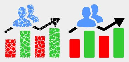Dotted and flat visitors bar chart icons. Vector mosaic of visitors bar chart created of scattered square elements and spheric elements. Ilustracja