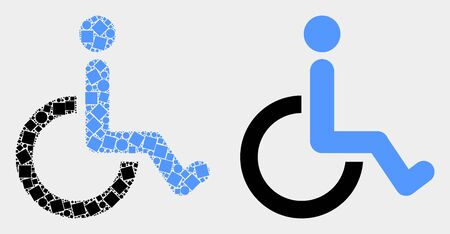 Pixel and flat wheelchair icons. Vector mosaic of wheelchair designed of irregular dots and circle dots.