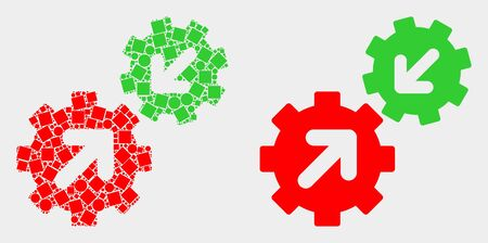 Dotted and flat integration gears icons. Vector mosaic of integration gears created of irregular rectangle elements and round points.