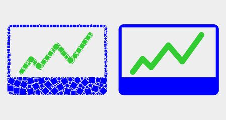 Dot and flat stocks chart icons. Vector mosaic of stocks chart composed of random small rectangles and round items. Ilustracja