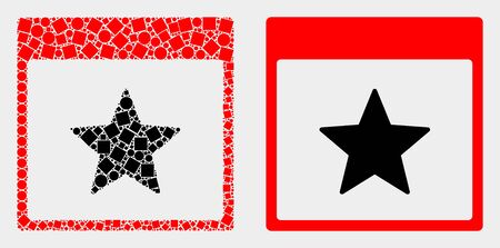 Pixel and flat star calendar page icons. Vector mosaic of star calendar page organized of scattered dots and round dots.