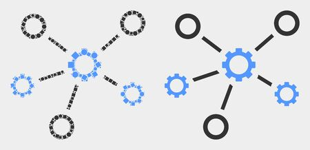 Dot and flat gear links icons. Vector mosaic of gear links composed of scattered square particles and spheric elements.