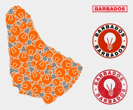 Power bulb mosaic Barbados map and rubber rounded stamps. Mosaic vector Barbados map is composed with idea bulb items. Concept for power supply services. Orange and red colors used.
