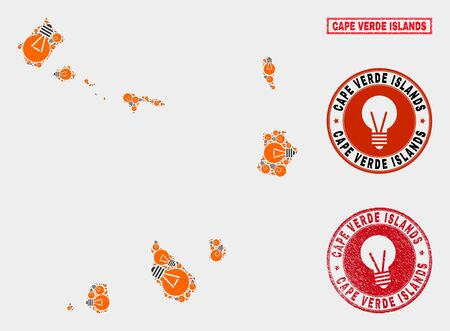 Power bulb mosaic Cape Verde Islands map and rubber round seals. Mosaic vector Cape Verde Islands map is created with light lamp icons. Templates for power supply services. Orange and red colors used.