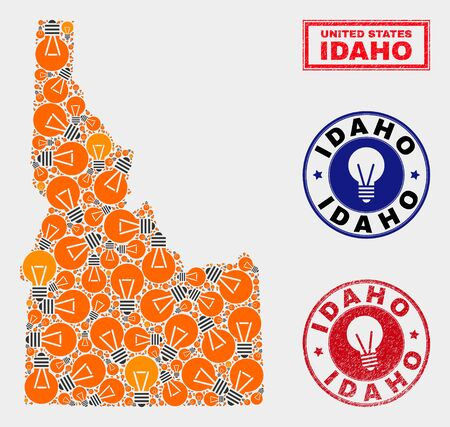 Power bulb mosaic Idaho State map and rubber rounded stamps. Collage vector Idaho State map is composed with electric bulb icons. Abstract images for power supply business. Orange and red colors used.
