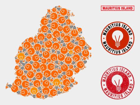 Light bulb mosaic Mauritius Island map and rubber round seals. Mosaic vector Mauritius Island map is composed with light bulb symbols. Concept for electric services. Orange and red colors used. Illustration