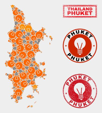 Electric bulb mosaic Phuket map and rubber round watermarks. Mosaic vector Phuket map is composed with illumination bulb symbols. Abstract images for electric business. Orange and red colors used.