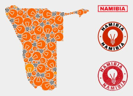 Power bulb mosaic Namibia map and rubber round seals. Mosaic vector Namibia map is designed with electric bulb symbols. Templates for patent business. Orange and red colors used.