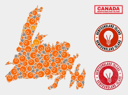 Light bulb mosaic Newfoundland Island map and rubber rounded stamp seals. Mosaic vector Newfoundland Island map is composed with electric bulb symbols. Abstract images for power supply business. Banque d'images - 125094895