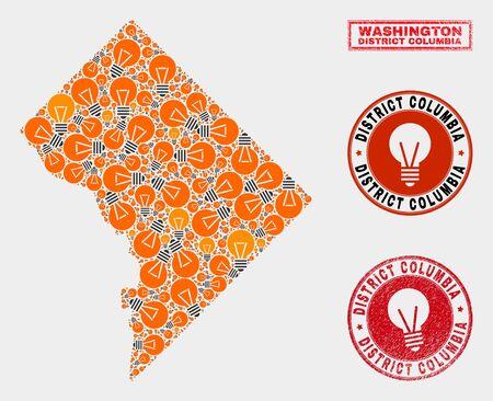 Power bulb mosaic Washington District Columbia map and grunge round watermarks. Mosaic vector Washington District Columbia map is composed with electric lamp elements. 일러스트
