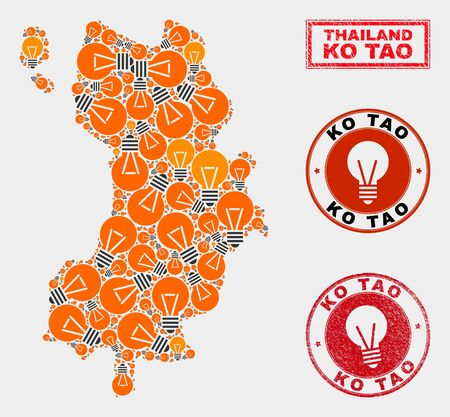 Light lamp mosaic Ko Tao map and grunge rounded stamp seals. Mosaic vector Ko Tao map is created with light bulb symbols. Templates for electric services. Orange and red colors used.