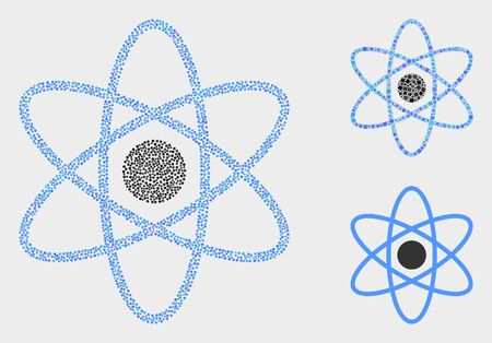Pixel and mosaic atom icons. Vector icon of atom combined of scattered spheric pixels. Other pictogram is combined from square pixels. 일러스트
