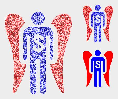 Dotted and mosaic angel investor icons. Vector icon of angel investor organized of irregular circle elements. Other pictogram is designed from rectangle elements.