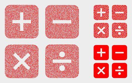 Gepunktete und Mosaik-Rechnersymbole. Vektorsymbol des Taschenrechners, der aus verstreuten kugelförmigen Punkten besteht. Andere Piktogramme sind aus Rechteckelementen organisiert.