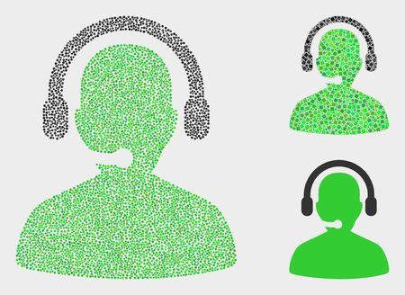 Pixel and mosaic call center operator icons. Vector icon of call center operator combined of irregular circle dots. Other pictogram is formed from square dots.