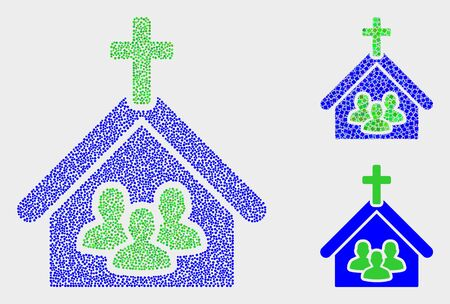 Dot and mosaic church people icons. Vector icon of church people formed of irregular round pixels. Other pictogram is formed from square pixels.