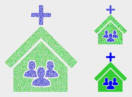 Pixelated and mosaic church people icons. Vector icon of church people constructed of irregular circle dots. Other pictogram is constructed from rectangle elements.  イラスト・ベクター素材