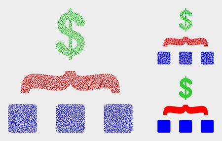 Dot and mosaic dollar aggregation icons. Vector icon of dollar aggregation created of scattered spheric items. Other pictogram is created from elements.