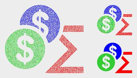 Dotted and mosaic dollar sum icons. Vector icon of dollar sum combined of scattered round elements. Other pictogram is formed from rectangle elements.